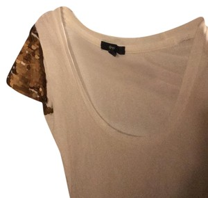 Gap T Shirt white & bronze sequin