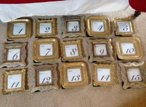 15 Gold Table Number Picture Frames