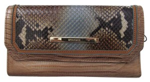 Brahmin Brahmin Brown Cortes reptile embossed leather Soft Checkbook Wallet