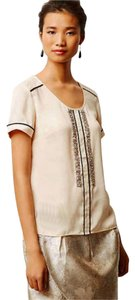 Anthropologie Rhinestones Top Ivory + Brown