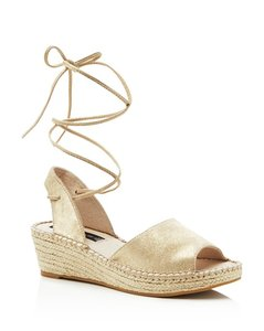 Steve Madden Suede Upper Metallic Strap Gold Wedges