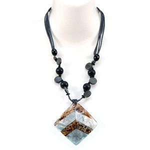 Other Nature Inspired Bead Necklace w/ Marble & Shell Tiled Charm