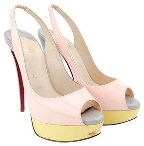 Christian Louboutin Bianca Patent Leather Multicolor Heels Pink, Yellow and Gray Platforms