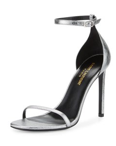 Saint Laurent Ysl Metallic Silver Sandals