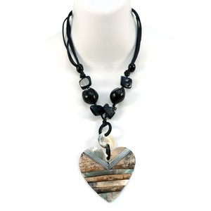 Other Nature at Heart Island Necklace w/ Iridescent & Rock Texture