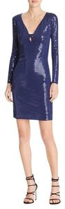 Aqua Sequin Plunging Neckline Clubwear Formal Dress