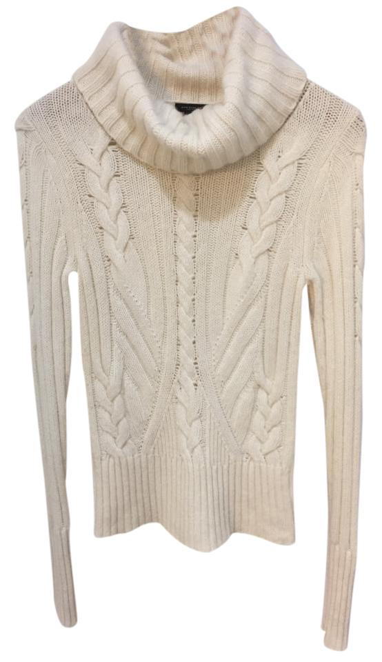 3bd1b9dc370186 Ann Taylor Retail Merino Wool Blend Cable Knit Turtleneck Vanilla Cream  Sweater