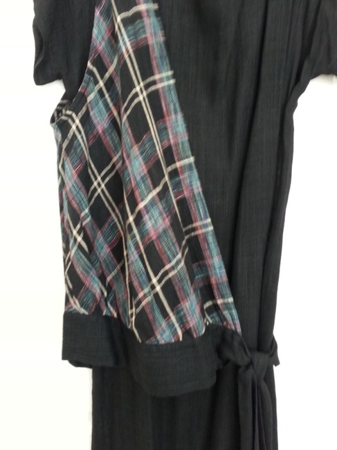 Black sheath with over shoulder vest white, tourquoise, pink plaid Maxi Dress by DB2