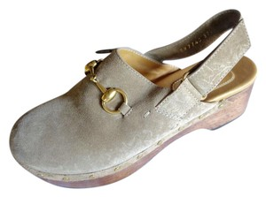 Gucci Suede Loafers taupe Mules