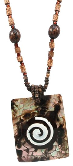 Preload https://img-static.tradesy.com/item/20525297/brown-mesmerizing-island-bead-w-shell-charm-and-spiral-necklace-0-1-540-540.jpg