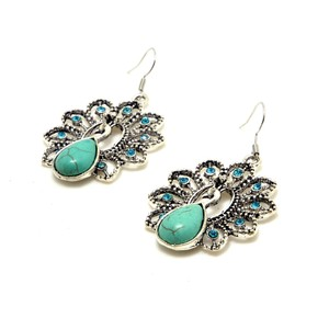 Other Turquoise Peacock Earrings with Aqua Blue Rhinestones