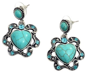Other Turquoise Heart Dangle Earrings With Scalloped Edges