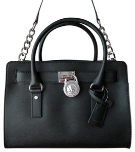 Michael Kors Leather Silver Satchel in Black