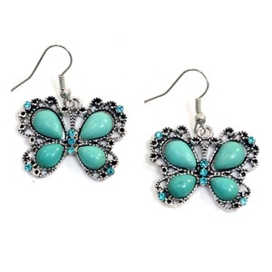 Other Metallic Butterfly Dangle Earrings with Turquoise Stones