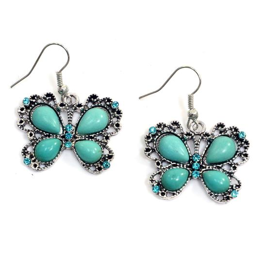 Preload https://img-static.tradesy.com/item/20525459/turquoise-metallic-butterfly-dangle-with-stones-earrings-0-0-540-540.jpg