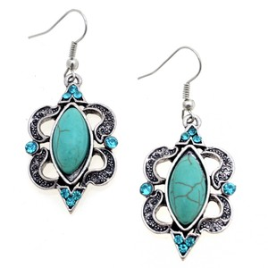 Other Majestic Chandelier Earrings with Turquoise Stone and Rhinestones