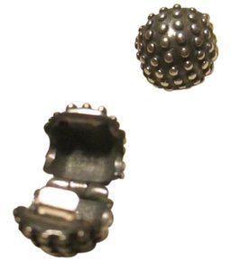 PANDORA set of 2 Pandora Studed Clip 925 Silver Oxidized Lock Bead 791012ox