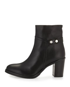 Charles David Leather Stud Chunky Black Boots