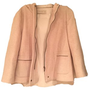Zara Wool Hood Short Pink Jacket