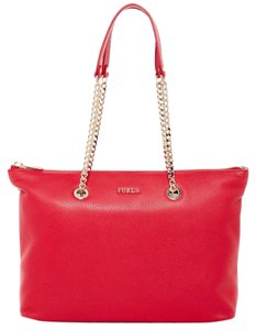 Furla Julia Chain Zip Classic Tote in Ruby Red, Gold
