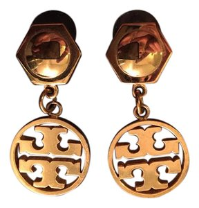 Tory Burch Tory Burch Gold Logo Dangling Earrings