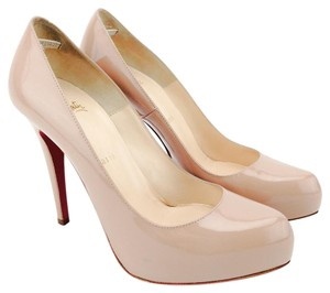 Christian Louboutin Patent Leather Rolando Platform Hidden Nude/Beige Pumps