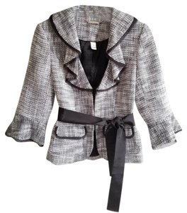 White House | Black Market Whbm Tweed Ruffled Spring Black and White Blazer
