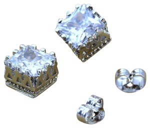 Other 7mm Crystal Square Crown Platinum Plated Stud Earrings