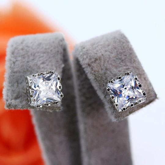 Other 7mm Crystal Square Crown Platinum Plated Stud Earrings Image 1