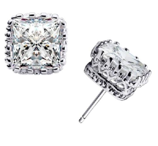 Other 7mm Crystal Square Crown Platinum Plated Stud Earrings Image 2