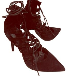 La Bottine Souriante Suede Lace-up Stiletto Heel Clubwear Black Pumps