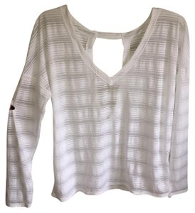 Athleta White Striped Long Sleeve Cut Out Vest
