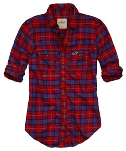 Hollister Button Down Shirt Red, blue, green, purple