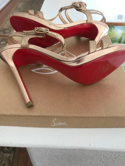 Christian Louboutin Strappy Dress Ankle Strap Rose gold glitter Sandals Image 5