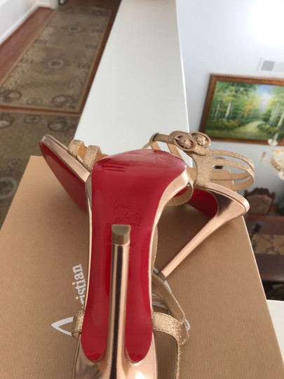 Christian Louboutin Strappy Dress Ankle Strap Rose gold glitter Sandals Image 7