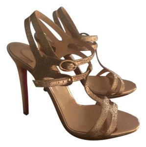 Christian Louboutin Strappy Dress Ankle Strap Rose gold glitter Sandals