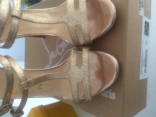 Christian Louboutin Strappy Dress Ankle Strap Rose gold glitter Sandals Image 2