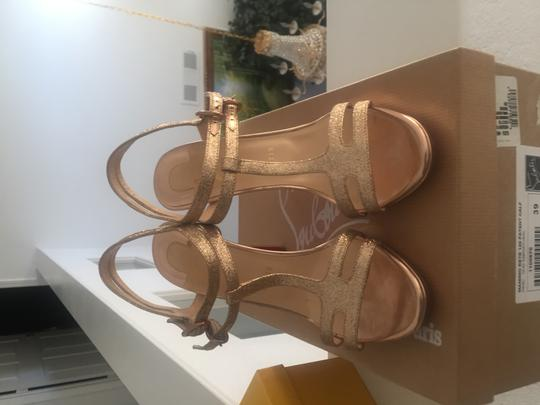 Christian Louboutin Strappy Dress Ankle Strap Rose gold glitter Sandals Image 3
