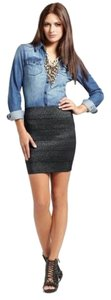 Pleasure Doing Business Fashion Designer Celeb Bandage Sexy Textured Runway Mini Skirt Black