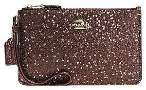 Coach Gift Box Glitter Shimmery Box Wristlet in Brown