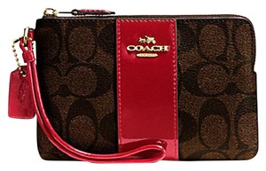 Coach Gift Box Box Monogram Red Leather Patent Leather Wristlet in Black