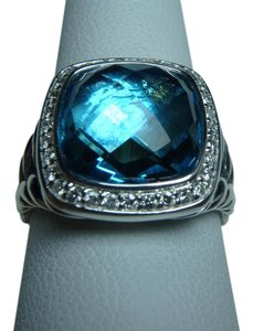 David Yurman 11mm Albion Ring with Blue Topaz and Diamonds size 9, with pouch