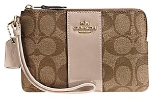 Coach Gift Box Box Monogram Patent Leather Neutral Wristlet in Beige