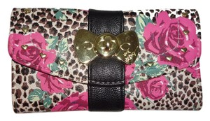 Betsey Johnson FLAP OVER/ leopard / pink rose print WALLET