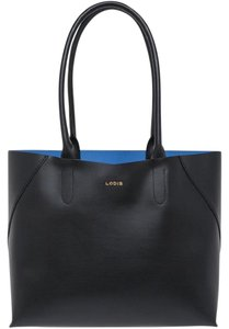 Lodis Leather Blue Tote in Black