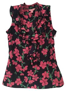 Lilly Pulitzer Top Bright Navy Flowers & the Trees