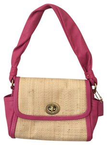 Coach Leather Pink Straw Shoulder Bag