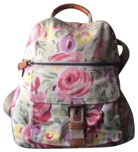 Fossil Floral Style Cotton Leather Trim Backpack