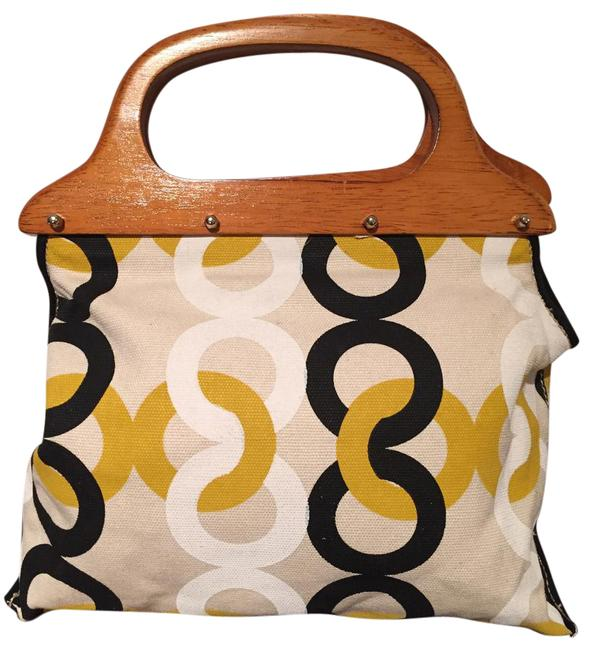 Item - Small Handbag Cream Yellow Black White Canvas Baguette