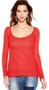 Lucky Brand Lace Thermal Comfortable Casual Top RED